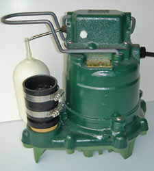 closeup of a Zoeller sump pump system with a cast-iron design and plastic float switch