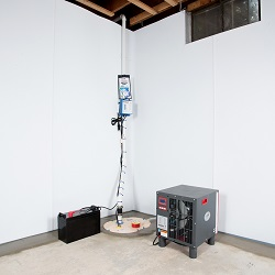 Sump pump system, dehumidifier, and basement wall panels installed during a sump pump installation in Citrus Heights